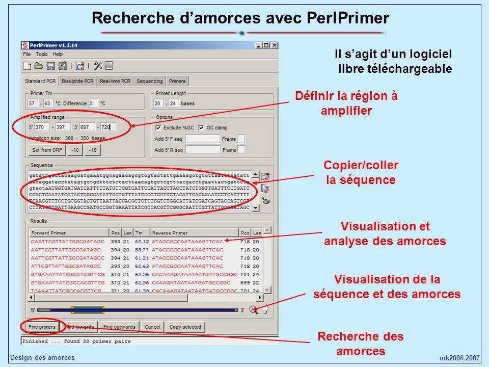 mk2006-2007 Design des amorces Recherche damorces avec PerlPrimer Il sagit dun logiciel libre téléchargeable Copier/coller la séquence Définir la régi