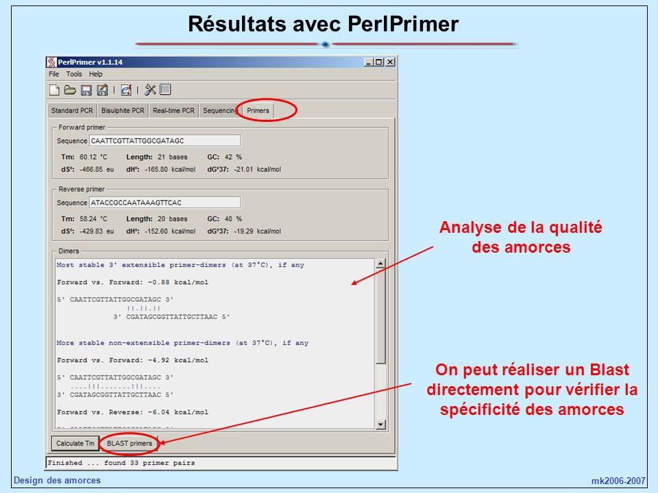 mk2006-2007 Design des amorces Résultats avec PerlPrimer On peut réaliser un Blast directement pour vérifier la spécificité des amorces Analyse de la