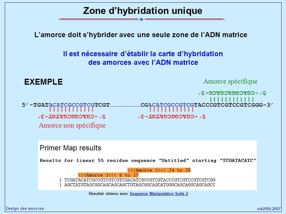 mk2006-2007 Design des amorces Zone dhybridation unique Lamorce doit shybrider avec une seule zone de lADN matrice 5-TGATACATCGCCGTCGTCGT……………………CGACA