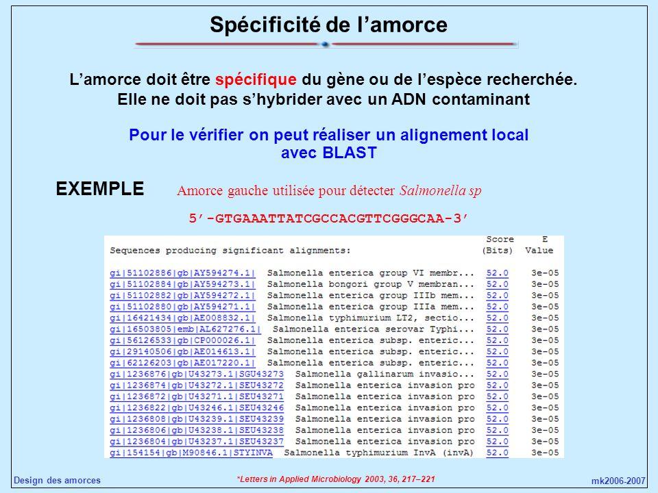 mk2006-2007 Design des amorces Spécificité de lamorce Lamorce doit être spécifique du gène ou de lespèce recherchée. Elle ne doit pas shybrider avec u