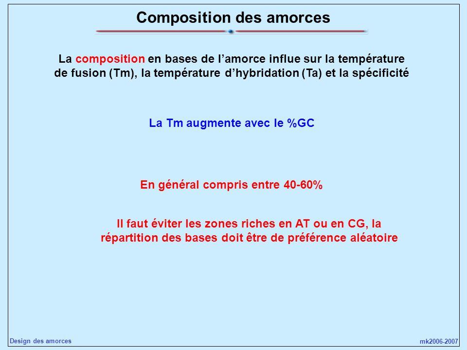 mk2006-2007 Design des amorces Composition des amorces La composition en bases de lamorce influe sur la température de fusion (Tm), la température dhy