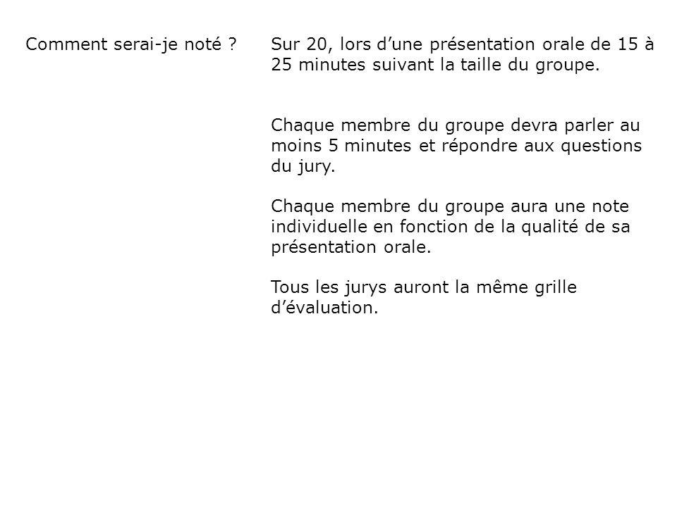 Comment serai-je noté ? Sur 20, lors dune présentation orale de 15 à 25 minutes suivant la taille du groupe. Chaque membre du groupe devra parler au m