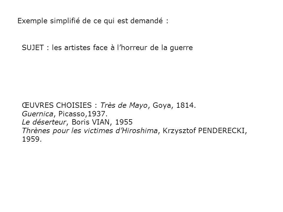 Exemple simplifié de ce qui est demandé : SUJET : les artistes face à lhorreur de la guerre ŒUVRES CHOISIES : Très de Mayo, Goya, 1814. Guernica, Pica