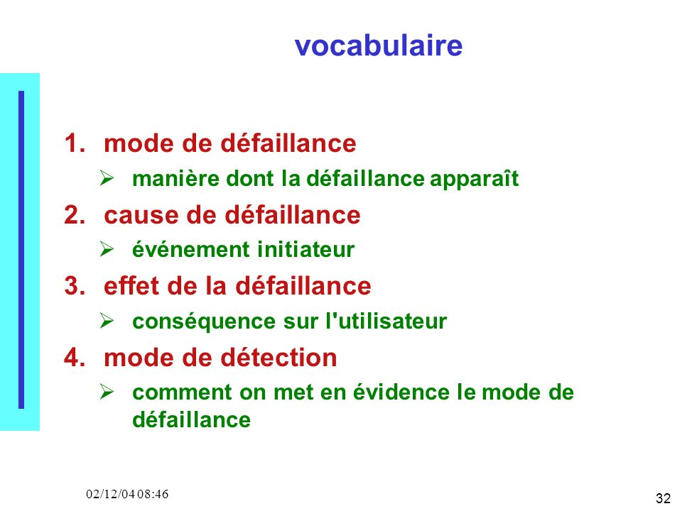 32 02/12/04 08:46 vocabulaire 1.mode de défaillance manière dont la défaillance apparaît 2.cause de défaillance événement initiateur 3.effet de la déf