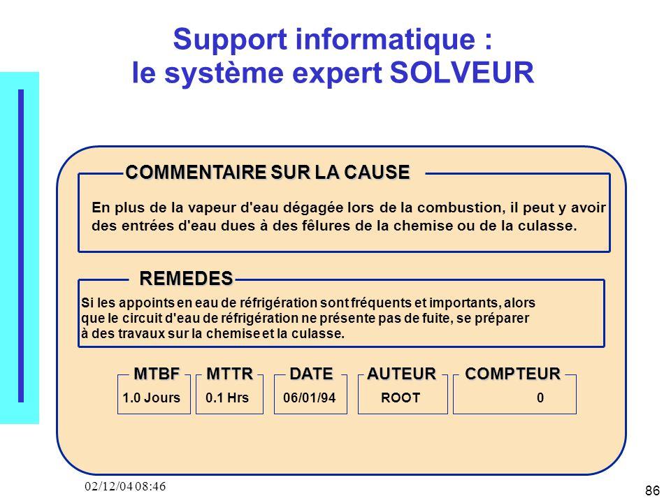 86 02/12/04 08:46 Support informatique : le système expert SOLVEUR COMMENTAIRE SUR LA CAUSE REMEDES MTBFMTTRDATEAUTEURCOMPTEUR En plus de la vapeur d'