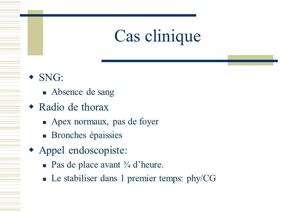 Cas clinique SNG: Absence de sang Radio de thorax Apex normaux, pas de foyer Bronches épaissies Appel endoscopiste: Pas de place avant ¾ dheure. Le st