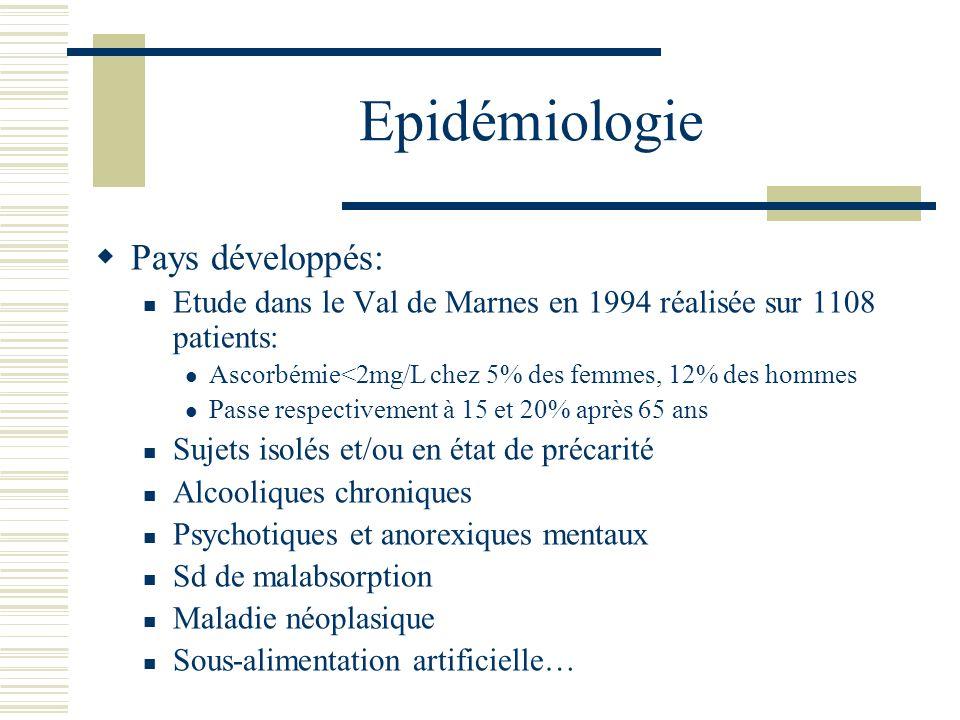 Epidémiologie Pays développés: Etude dans le Val de Marnes en 1994 réalisée sur 1108 patients: Ascorbémie<2mg/L chez 5% des femmes, 12% des hommes Pas