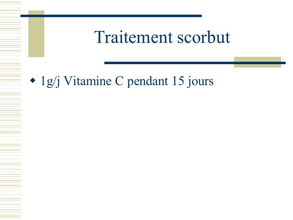 Traitement scorbut 1g/j Vitamine C pendant 15 jours