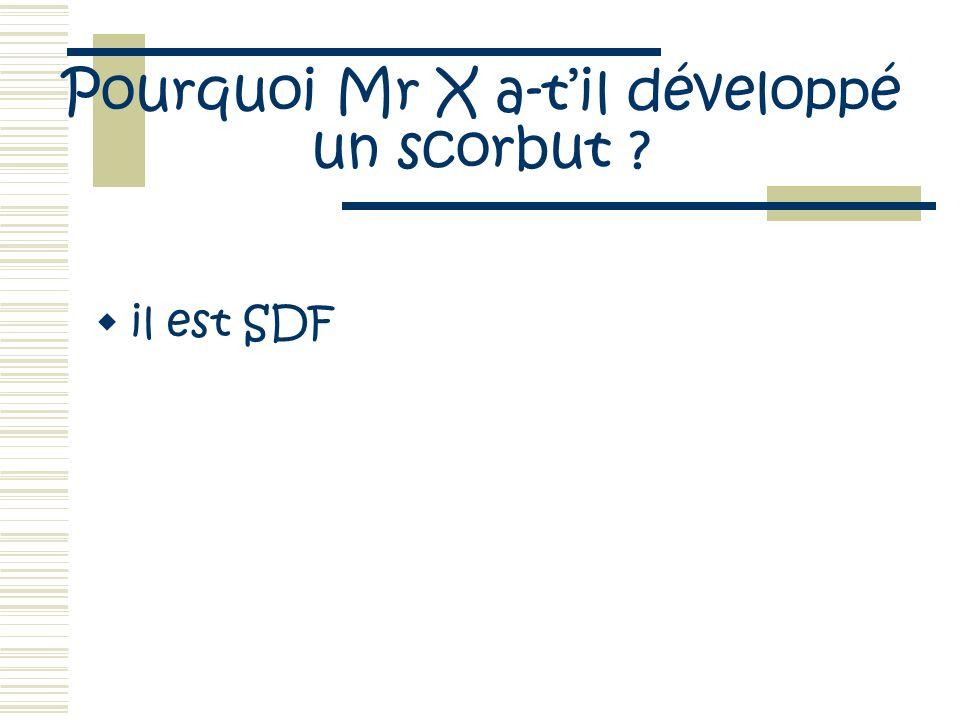 Pourquoi Mr X a-til développé un scorbut ? il est SDF