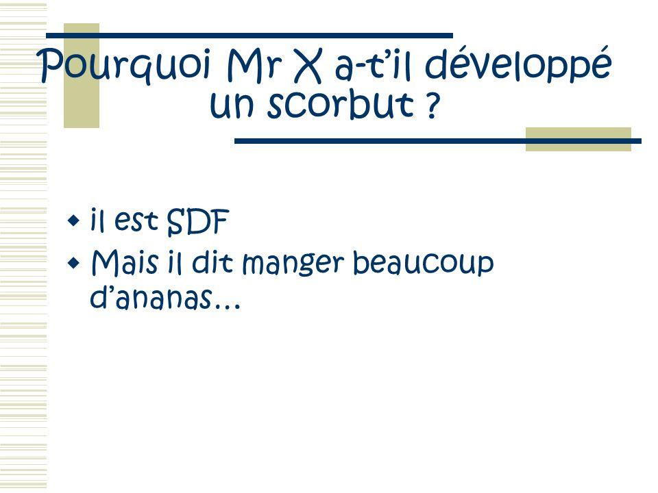 Pourquoi Mr X a-til développé un scorbut ? il est SDF Mais il dit manger beaucoup dananas…