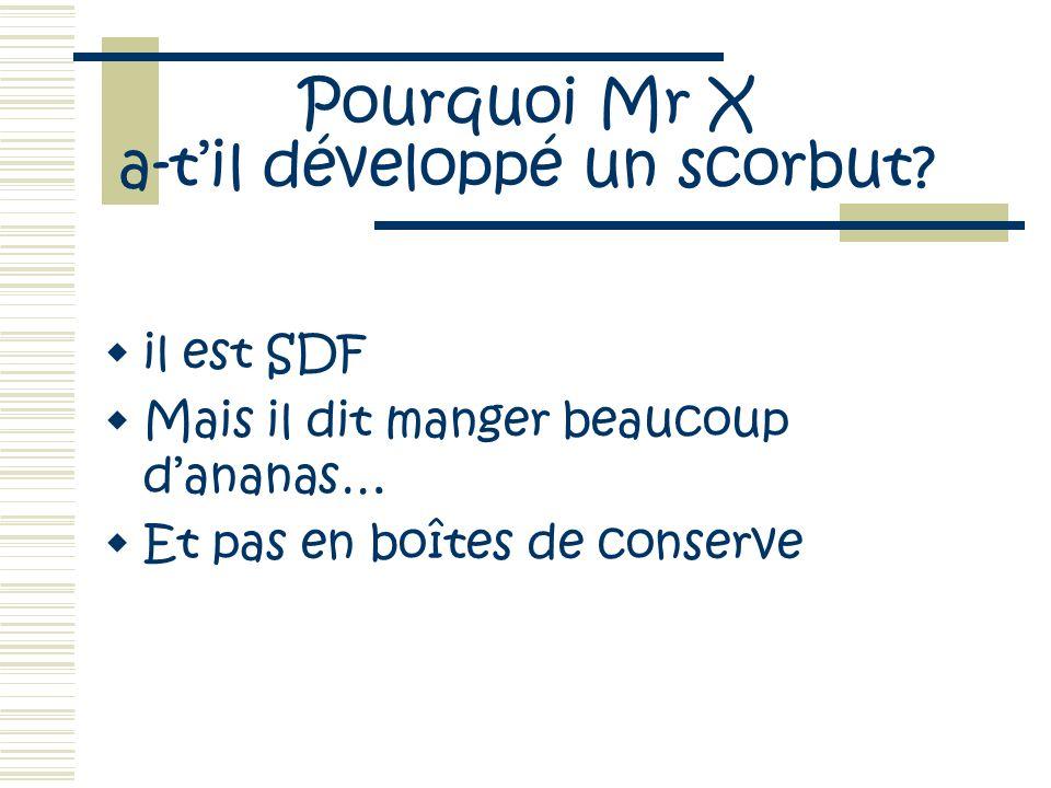 Pourquoi Mr X a-til développé un scorbut? il est SDF Mais il dit manger beaucoup dananas… Et pas en boîtes de conserve