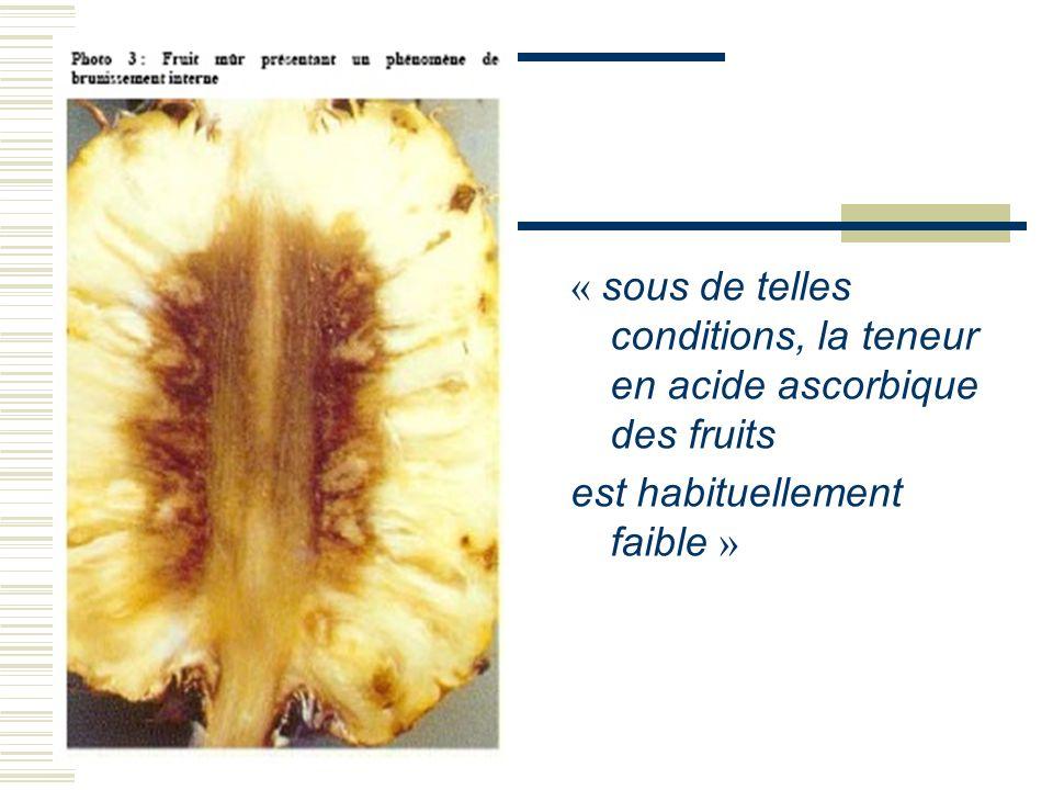 « sous de telles conditions, la teneur en acide ascorbique des fruits est habituellement faible »