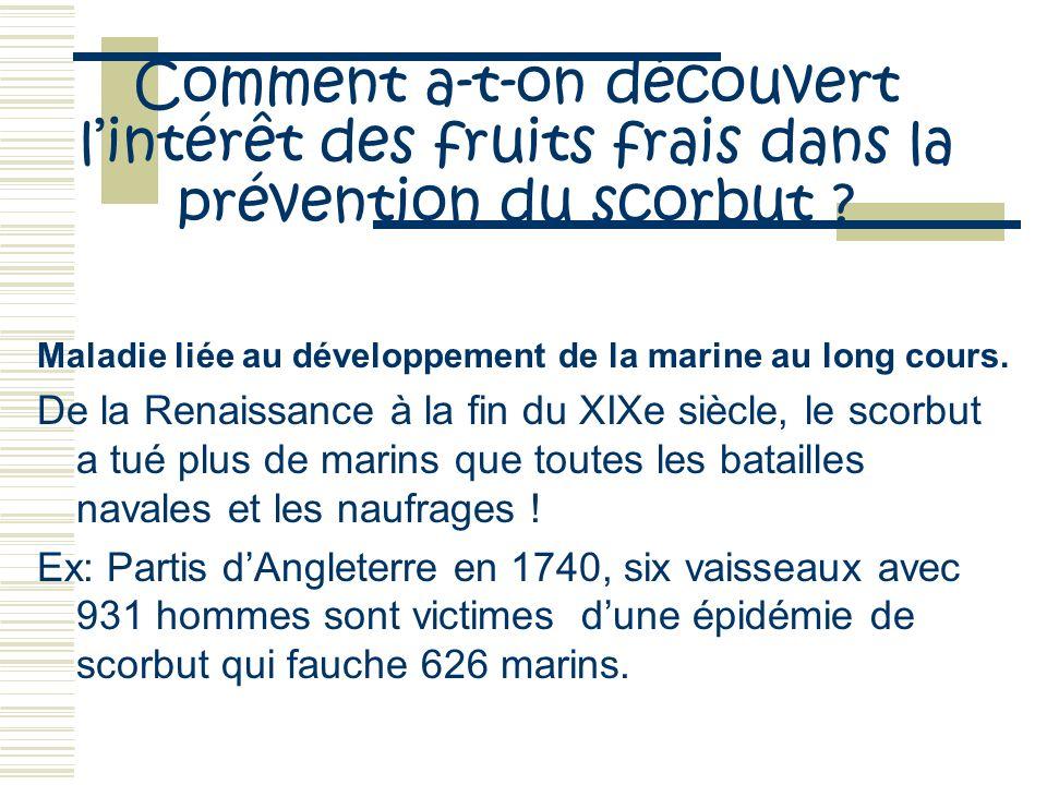 Comment a-t-on découvert lintérêt des fruits frais dans la prévention du scorbut ? Maladie liée au développement de la marine au long cours. De la Ren