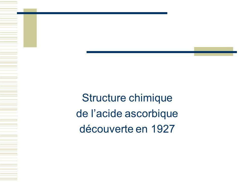 Structure chimique de lacide ascorbique découverte en 1927