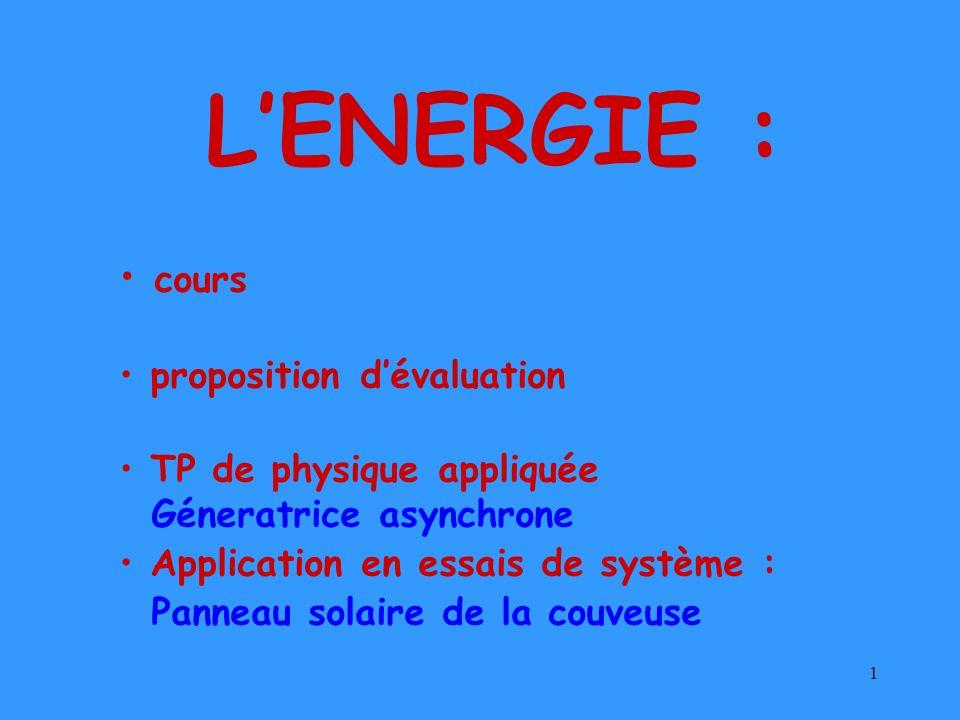 1 LENERGIE : cours proposition dévaluation TP de physique appliquée Géneratrice asynchrone Application en essais de système : Panneau solaire de la co