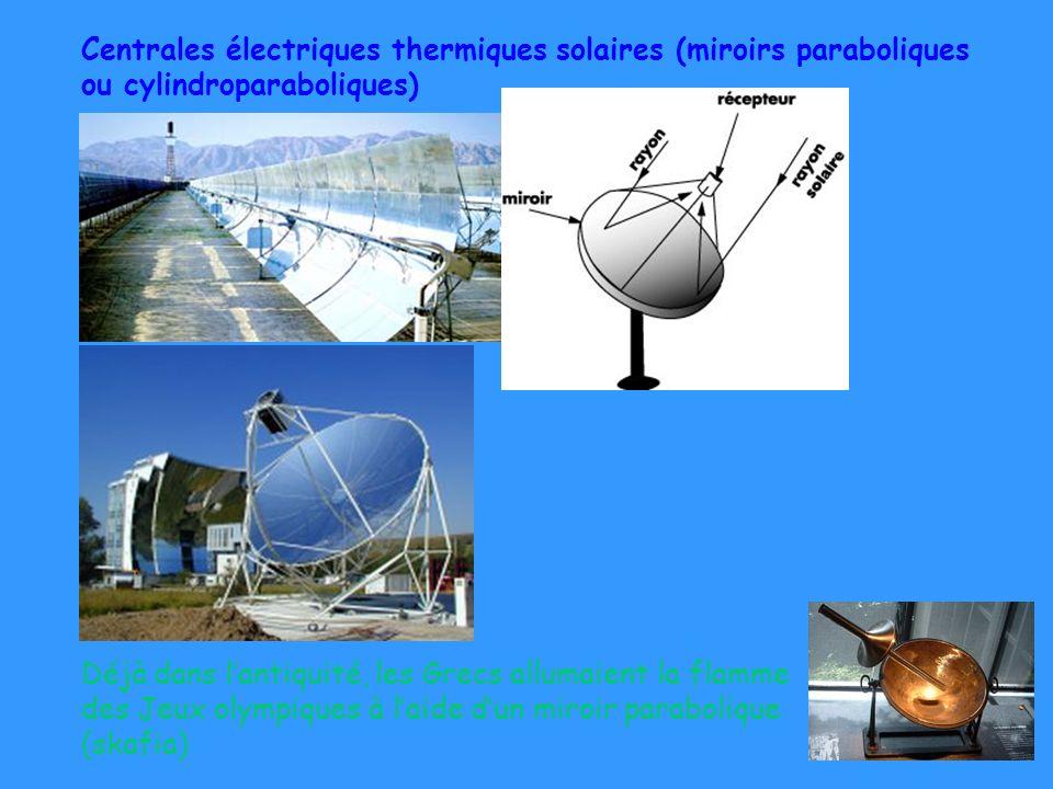 10 Centrales électriques thermiques solaires (miroirs paraboliques ou cylindroparaboliques) Déjà dans lantiquité, les Grecs allumaient la flamme des J