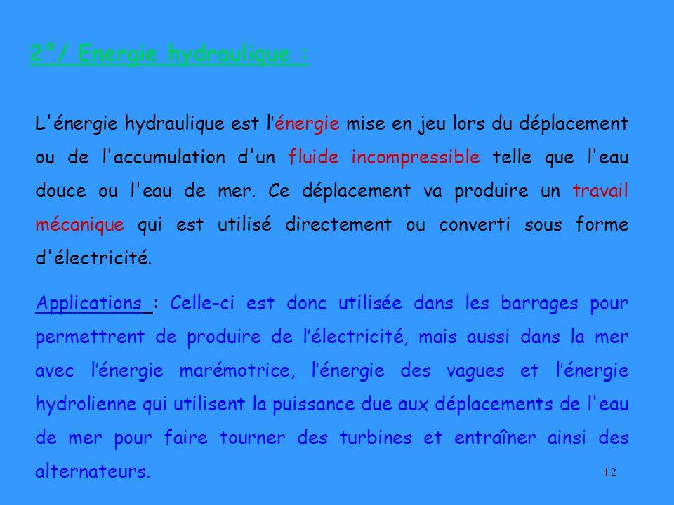 12 2°/ Energie hydraulique : L'énergie hydraulique est lénergie mise en jeu lors du déplacement ou de l'accumulation d'un fluide incompressible telle