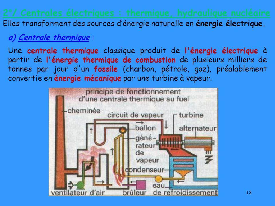 18 a) Centrale thermique : Une centrale thermique classique produit de l'énergie électrique à partir de l'énergie thermique de combustion de plusieurs