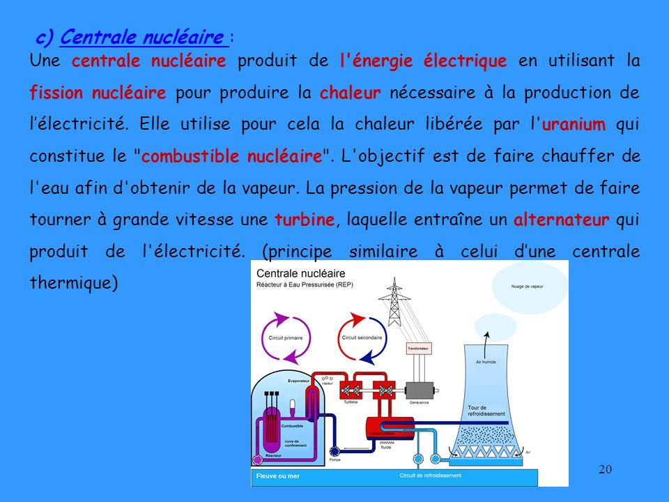 20 c) Centrale nucléaire : Une centrale nucléaire produit de l'énergie électrique en utilisant la fission nucléaire pour produire la chaleur nécessair