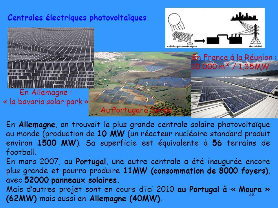 28 En Allemagne, on trouvait la plus grande centrale solaire photovoltaïque au monde (production de 10 MW (un réacteur nucléaire standard produit envi