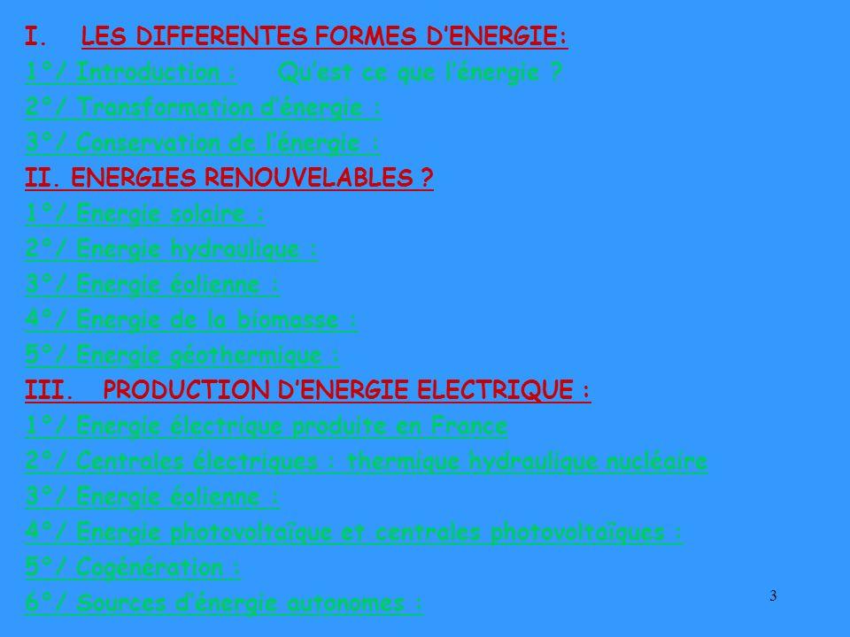 3 I.LES DIFFERENTES FORMES DENERGIE: 1°/ Introduction : Quest ce que lénergie ? 2°/ Transformation dénergie : 3°/ Conservation de lénergie : II. ENERG