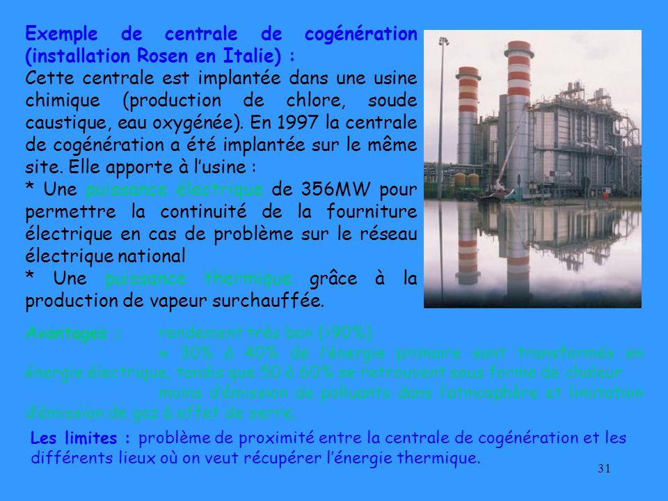 31 Exemple de centrale de cogénération (installation Rosen en Italie) : Cette centrale est implantée dans une usine chimique (production de chlore, so