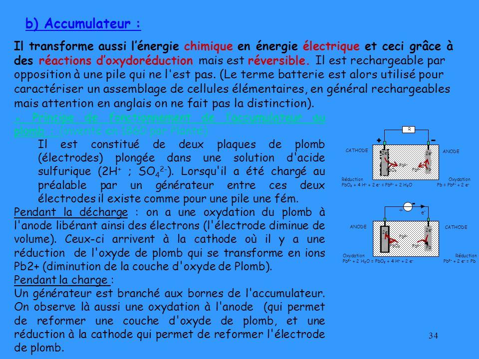 34 b) Accumulateur : Il transforme aussi lénergie chimique en énergie électrique et ceci grâce à des réactions doxydoréduction mais est réversible. Il