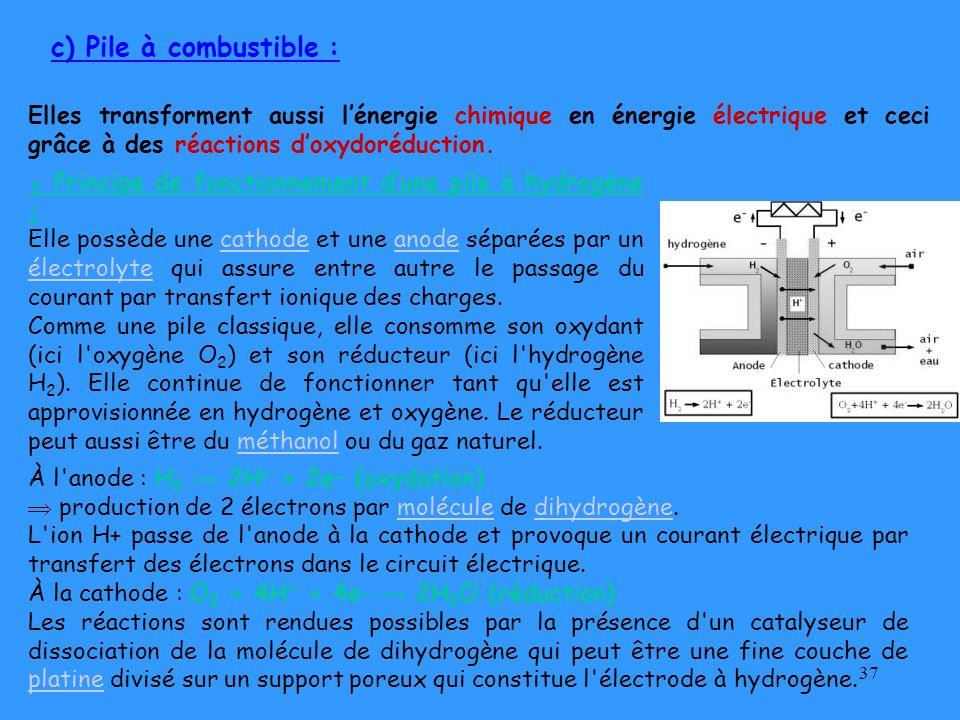 37 c) Pile à combustible : Elles transforment aussi lénergie chimique en énergie électrique et ceci grâce à des réactions doxydoréduction. Principe de