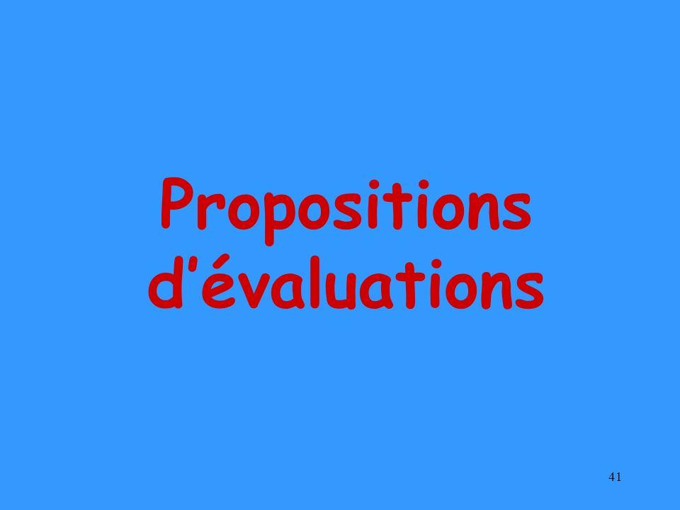 41 Propositions dévaluations