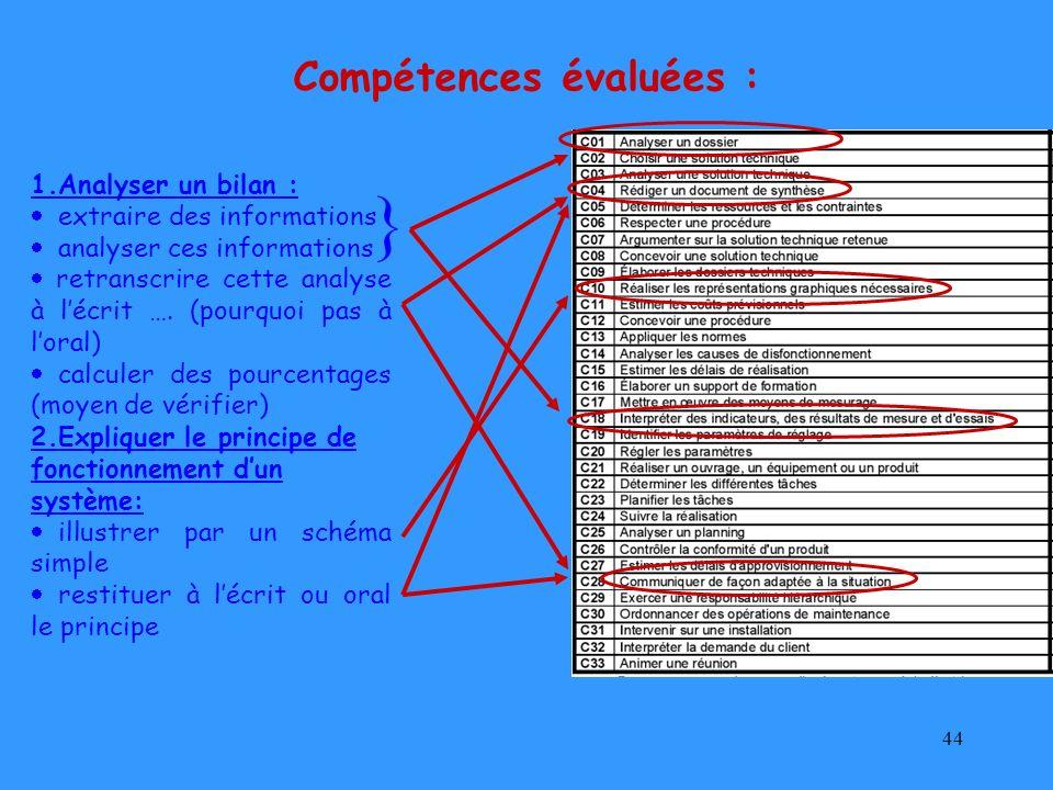 44 1.Analyser un bilan : extraire des informations analyser ces informations retranscrire cette analyse à lécrit …. (pourquoi pas à loral) calculer de