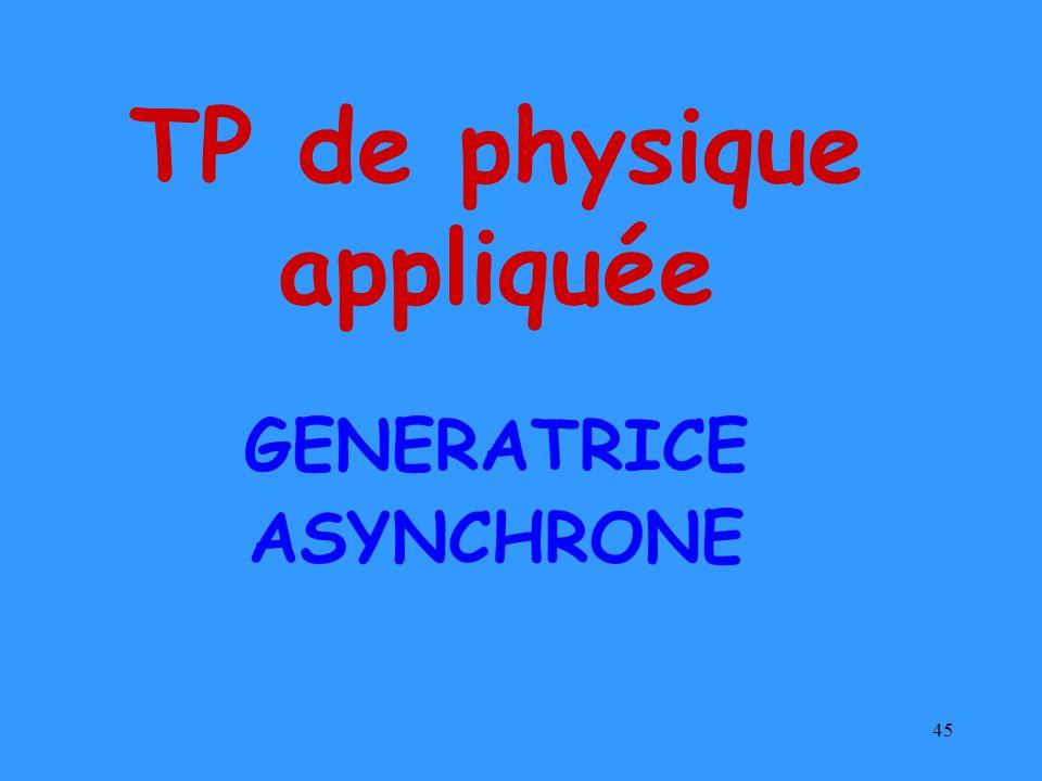 45 GENERATRICE ASYNCHRONE TP de physique appliquée