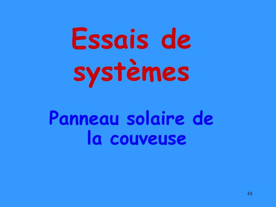 48 Panneau solaire de la couveuse Essais de systèmes