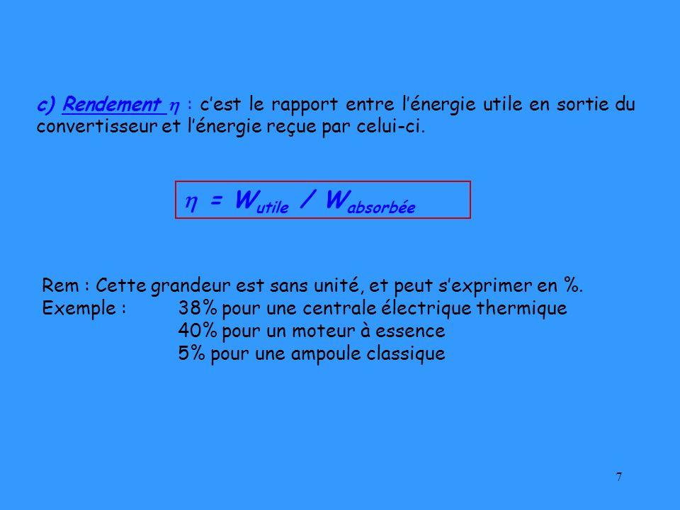 7 c) Rendement : cest le rapport entre lénergie utile en sortie du convertisseur et lénergie reçue par celui-ci. Rem : Cette grandeur est sans unité,