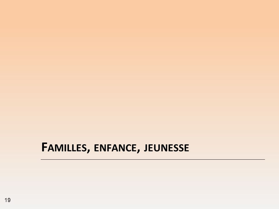 F AMILLES, ENFANCE, JEUNESSE 19