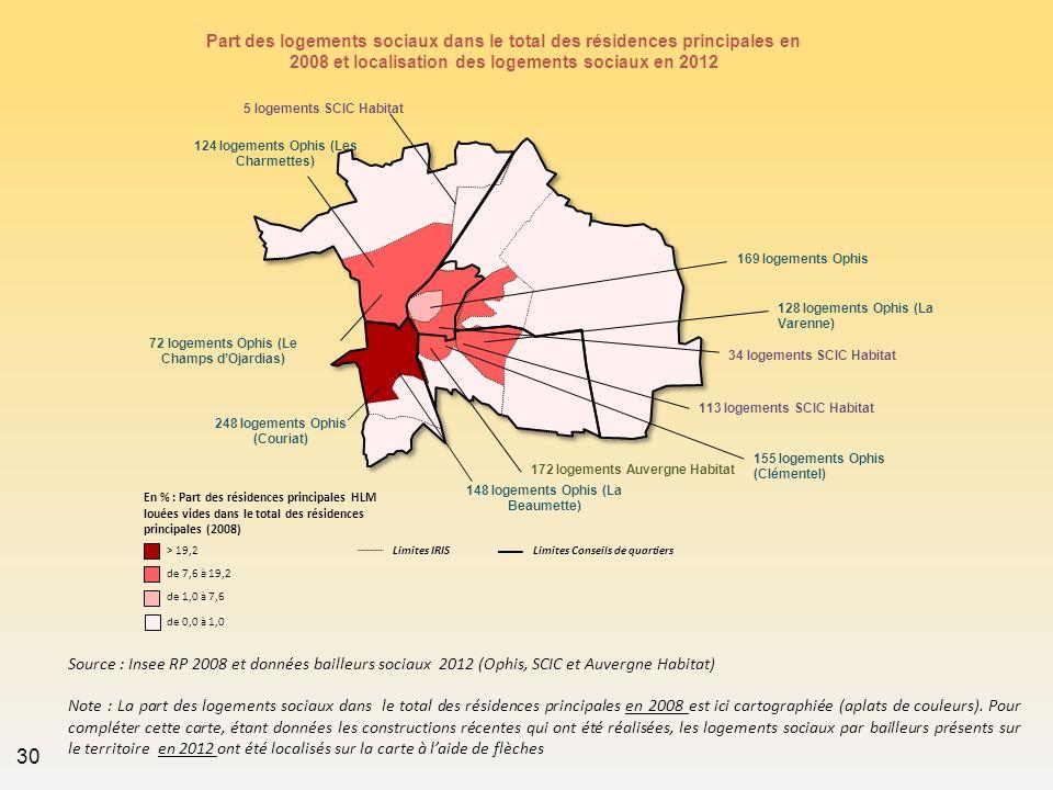Part des logements sociaux dans le total des résidences principales en 2008 et localisation des logements sociaux en 2012 Source : Insee RP 2008 et do
