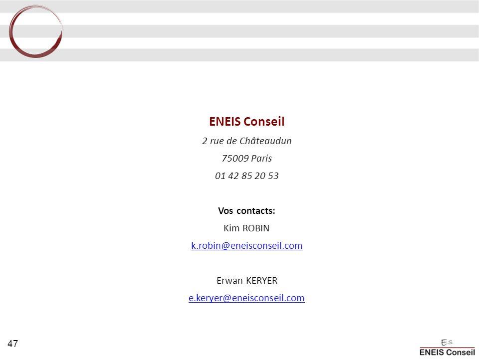 ENEIS Conseil 2 rue de Châteaudun 75009 Paris 01 42 85 20 53 Vos contacts: Kim ROBIN k.robin@eneisconseil.com Erwan KERYER e.keryer@eneisconseil.com 4