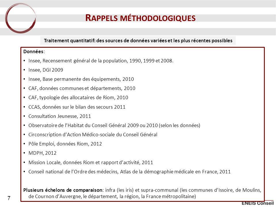 Données: Insee, Recensement général de la population, 1990, 1999 et 2008. Insee, DGI 2009 Insee, Base permanente des équipements, 2010 CAF, données co