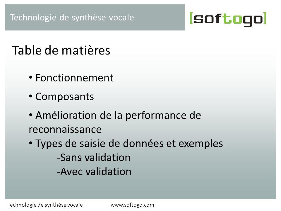 Fonctionnement Composants Amélioration de la performance de reconnaissance Types de saisie de données et exemples -Sans validation -Avec validation Ta