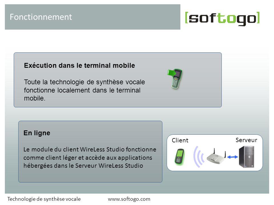 Exécution dans le terminal mobile Toute la technologie de synthèse vocale fonctionne localement dans le terminal mobile. Fonctionnement En ligne Le mo