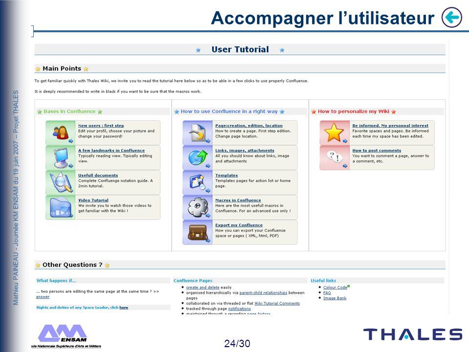 23/30 Mathieu PAINEAU - Journée KM ENSAM du 19 juin 2007 – Projet THALES Accompagner lutilisateur