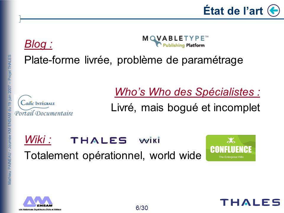 5/30 Mathieu PAINEAU - Journée KM ENSAM du 19 juin 2007 – Projet THALES Contexte Réorganisation Secret Defense Continuation