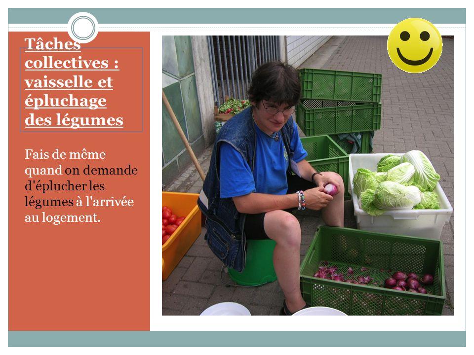 Tâches collectives : vaisselle et épluchage des légumes La vaisselle du soir est une entreprise conviviale qui te permet de faire de nouvelles connaissances.