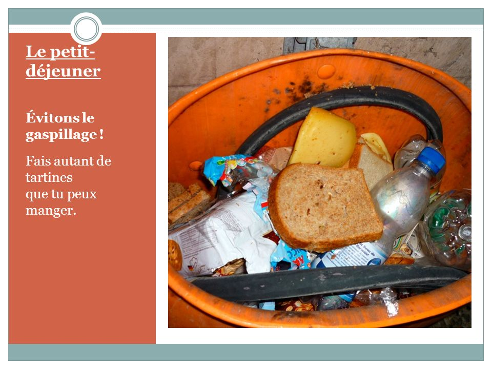 Le petit- déjeuner Évitons le gaspillage ! Fais autant de tartines que tu peux manger.