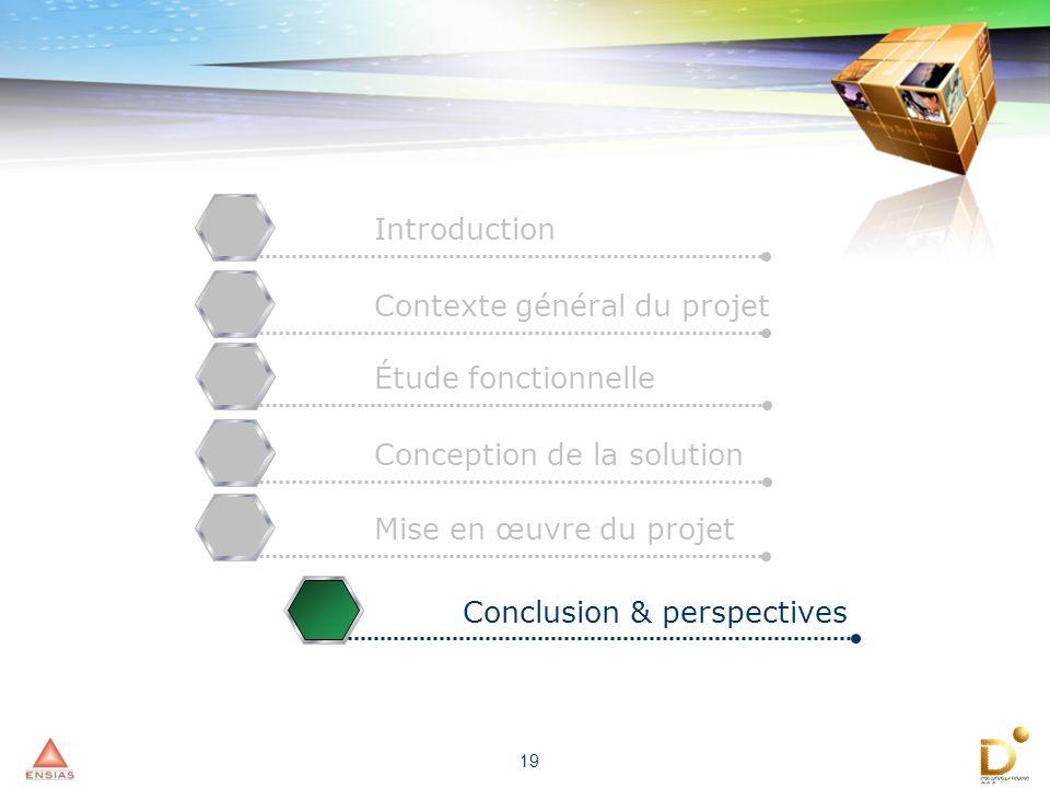 19 IntroductionContexte général du projetÉtude fonctionnelleConception de la solutionMise en œuvre du projetConclusion & perspectives