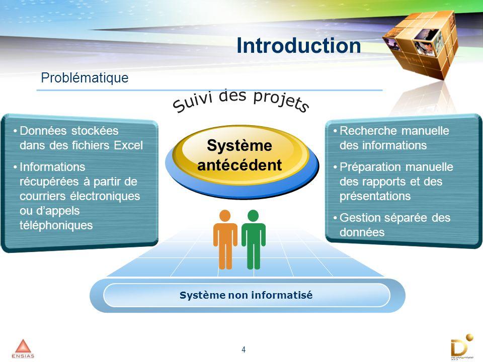 4 Système non informatisé Données stockées dans des fichiers Excel Informations récupérées à partir de courriers électroniques ou dappels téléphonique