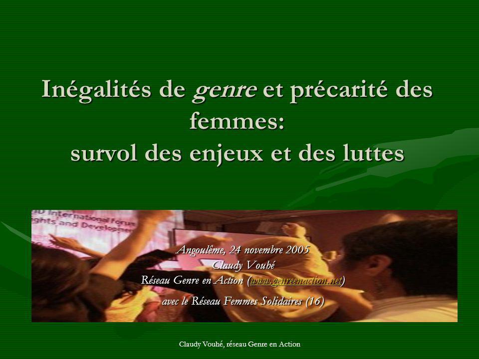 Claudy Vouhé, réseau Genre en Action Inégalités de genre et précarité des femmes: survol des enjeux et des luttes Angoulême, 24 novembre 2005 Claudy V