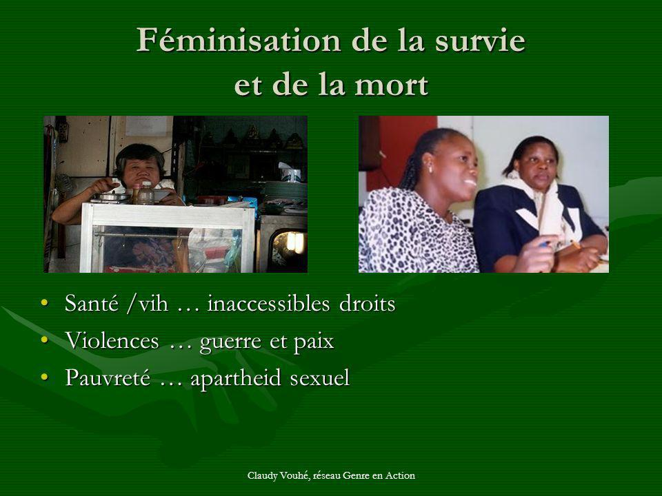Claudy Vouhé, réseau Genre en Action Féminisation de la survie et de la mort Santé /vih … inaccessibles droits Violences … guerre et paix Pauvreté … a