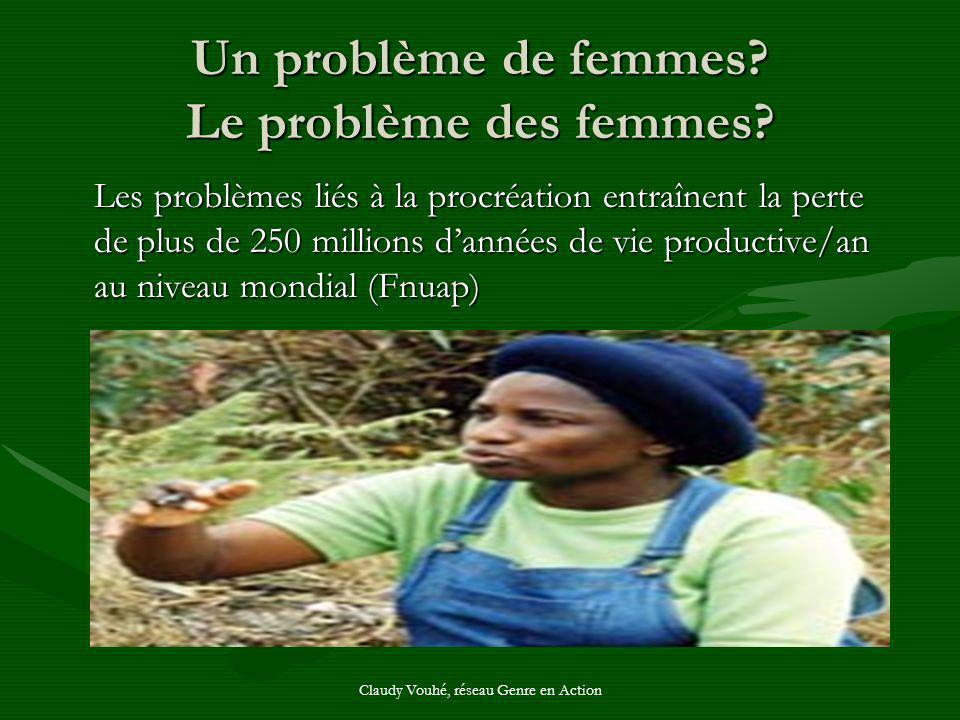 Claudy Vouhé, réseau Genre en Action Un problème de femmes? Le problème des femmes? Les problèmes liés à la procréation entraînent la perte de plus de