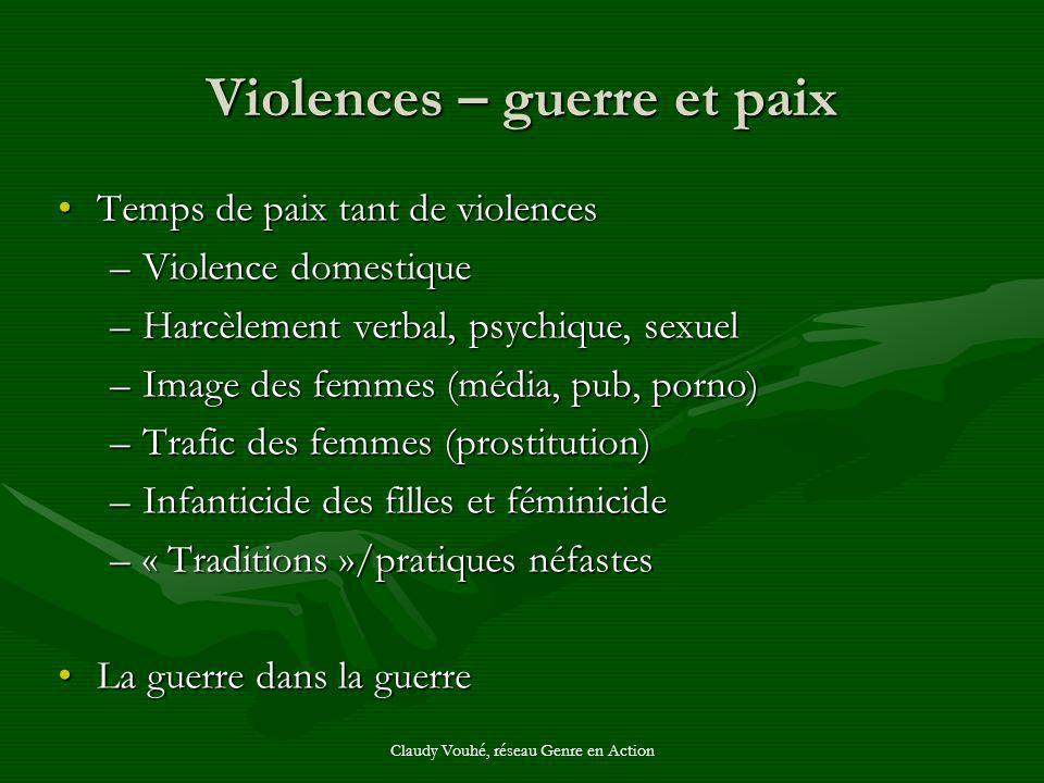 Claudy Vouhé, réseau Genre en Action Violences – guerre et paix Temps de paix tant de violencesTemps de paix tant de violences –Violence domestique –H