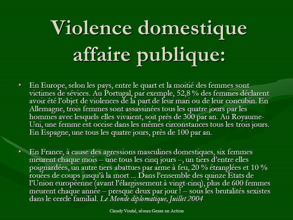 Claudy Vouhé, réseau Genre en Action Violence domestique affaire publique: En Europe, selon les pays, entre le quart et la moitié des femmes sont vict